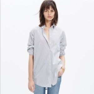 Madewell Oversized Button Down Shirt XL Pinstripes
